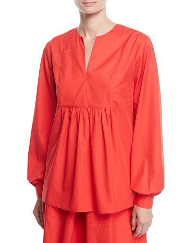 Split-Neck Bib Long-Sleeve Light-Twill Tunic Blouse