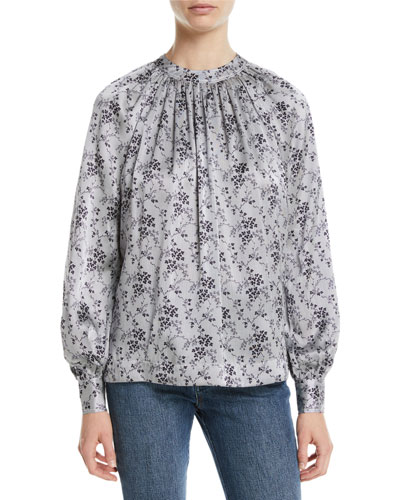 Ruched-Neck Tieback Long-Sleeve Floral-Print Silk Blouse
