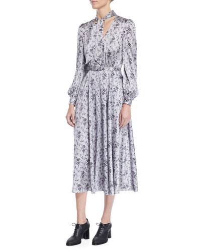 Tie-Neck Long-Sleeve Floral-Print Silk Charmeuse Midi Dress