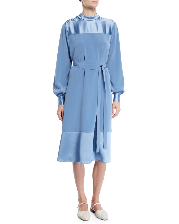 Co Dresses BUTTON-SHOULDER LONG-SLEEVE STRETCH-CREPE DRESS W/ SATIN