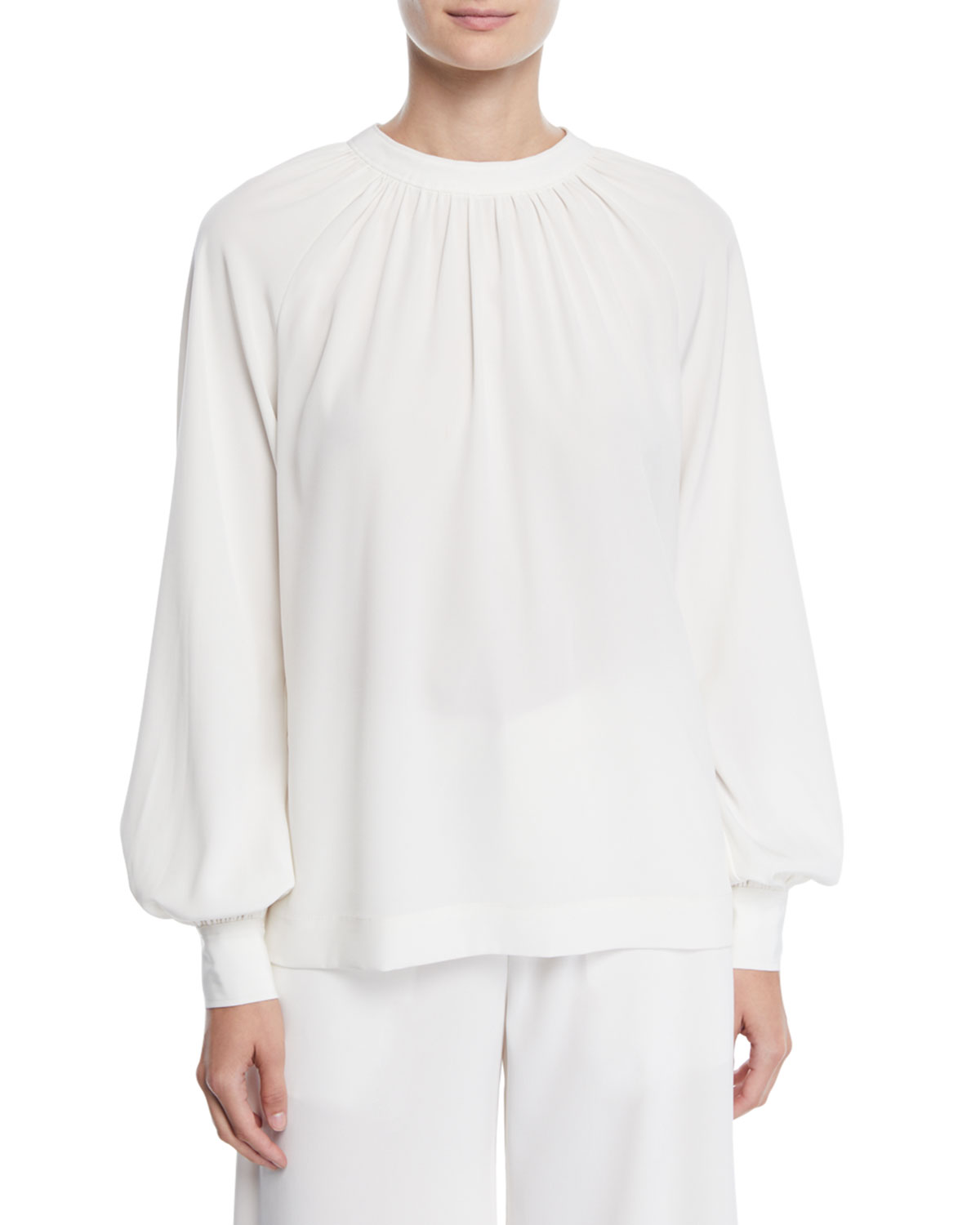 Co Tops RUCHED-NECK TIEBACK BLOUSON-SLEEVE STRETCH-CREPE TUNIC BLOUSE