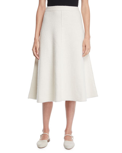 A-Line Felted Wool Knit Midi Skirt