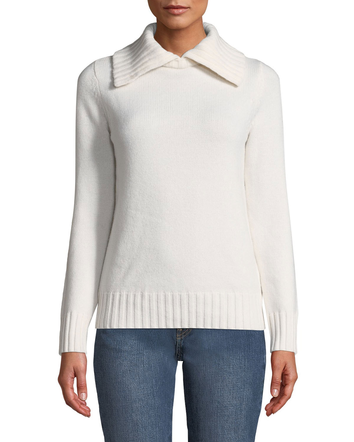 Co Wools WOOL-CASHMERE RIBBED-COLLAR SWEATER