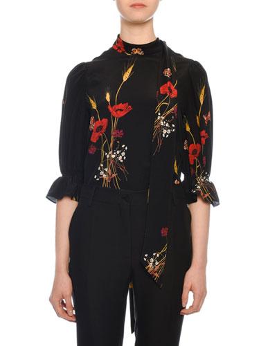 Short-Sleeve Puff-Shoulder Crepe de Chine Floral-Print Blouse