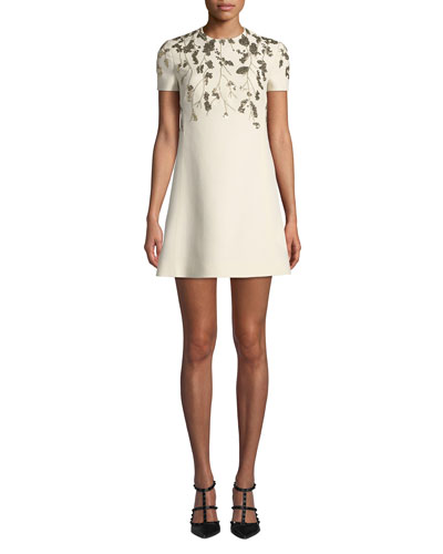 d3148a9fcb3 Red Valentino Dress. Golden-Floral Embroidered Crepe Dress
