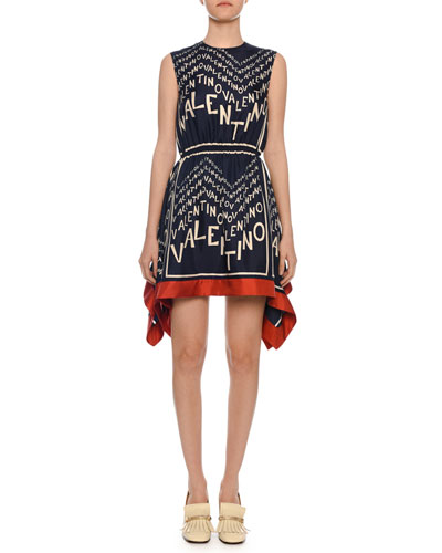7f20d59aa2f Sleeveless Logo Puzzle-Print Silk Twill Dress w  Scarf Hem