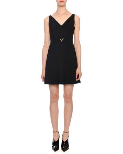 V-Neck Sleeveless Belted Crepe Mini Dress w/ Hardware