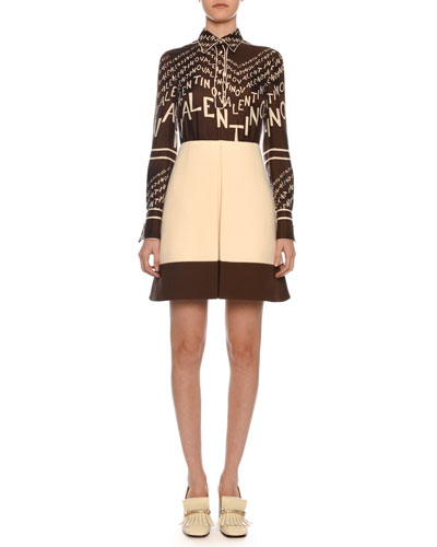 Long-Sleeve A-Line Chevron Logo-Print Silk Twill Dress