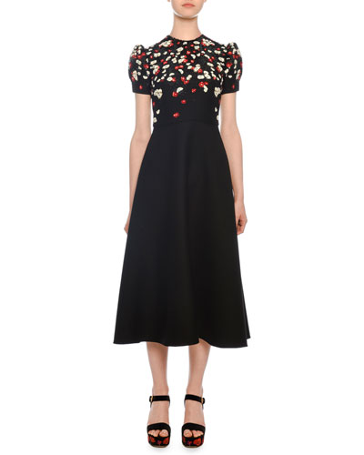 Short-Sleeve Floral-Embroidered Mid-Calf Crepe Couture Dress