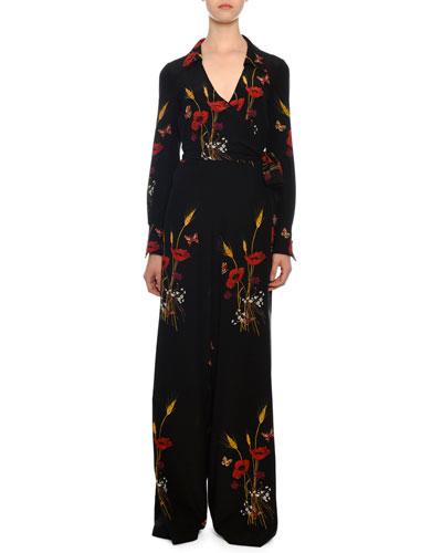 098e7970b16 Tie-Waist Wide-Leg Floral-Meadow Silk Crepe de Chine Jumpsuit