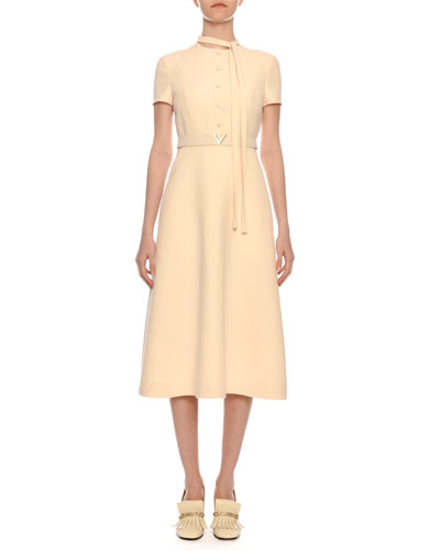 Short-Sleeve Button-Bib A-Line Crepe Midi Dress w  V- bc17d8c87546