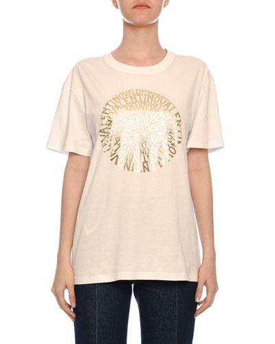 Golden Vertigo Print Short-Sleeve Crewneck Cotton Jersey T-Shirt