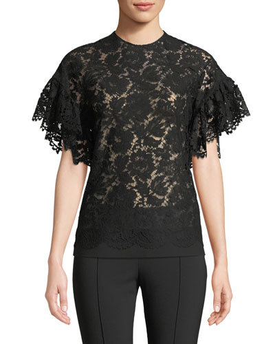 Flutter-Sleeve Lace Blouse