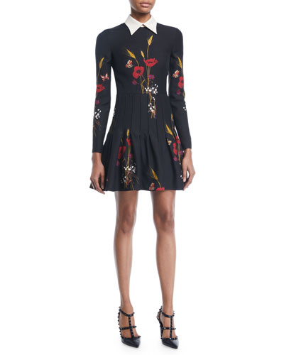 Long-Sleeve Collared Floral-Meadow A-Line Dress