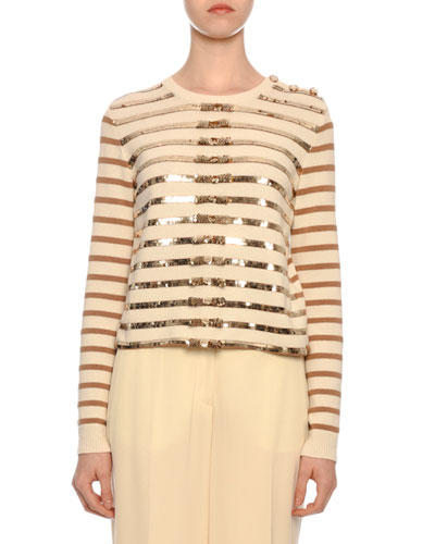 Long-Sleeve Paillette-Ribbon Embroidered Cashmere Sweater