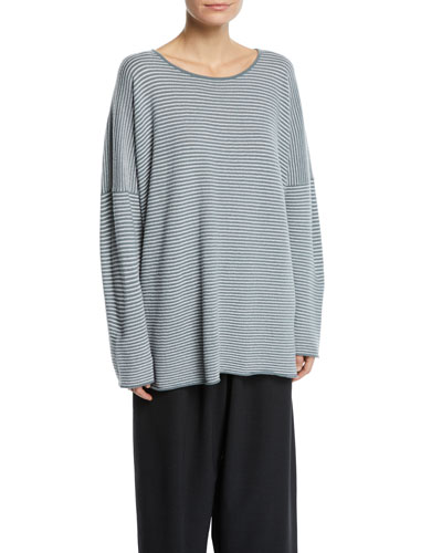 Crewneck Dropped-Shoulder Striped Cashmere Pullover Sweater