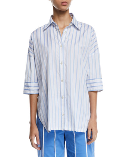 Short-Sleeve Button-Down Striped Satin Shirt