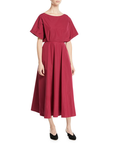 Short-Sleeve A-Line Cotton Midi Dress w/ Cutout Back