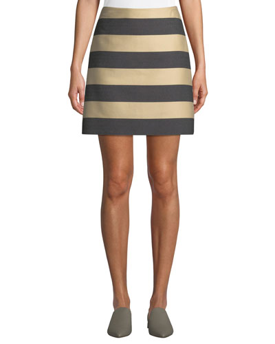 Awning-Stripe A-Line Mini Skirt