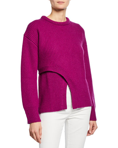 Crisscross Crewneck Ribbed Cashmere Sweater