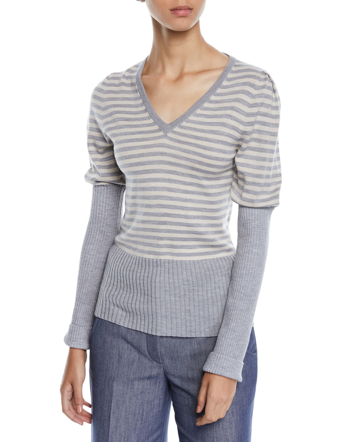 Derek Lam V-NECK PUFF-SLEEVE STRIPED WOOL SWEATER W/ RIBBED COMBO