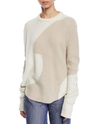 Intarsia Crewneck Cashmere Sweater w/ Shirttail Hem