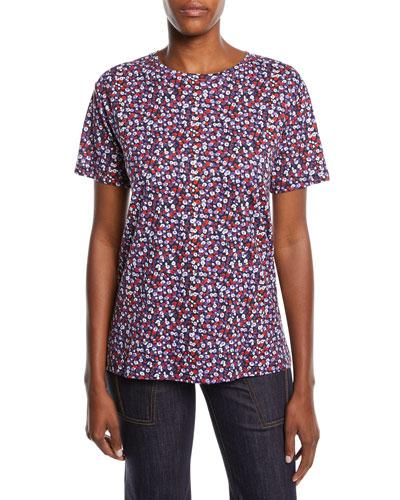 Crewneck Short-Sleeve Poppy-Print Tee
