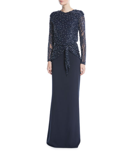 Hand-Beaded Long-Sleeve Evening Gown w/ Crepe