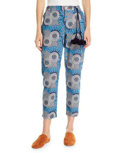 Zuri African Moon Floral Cropped Pants