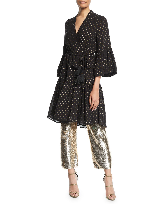 Figue Dresses CAROLINE METALLIC DOT KIMONO-STYLE DRESS
