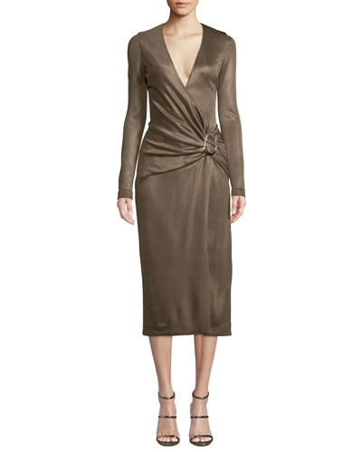 Long-Sleeve Wrap-Front w/ Hardware Cocktail Dress