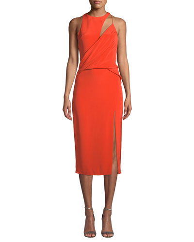 High-Neck Sleeveless Draped Silk Crepe Cocktail Dress