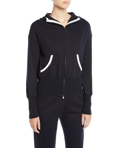 Zip-Front Hooded Cashmere-Blend Jacket w/ Contrast Trim