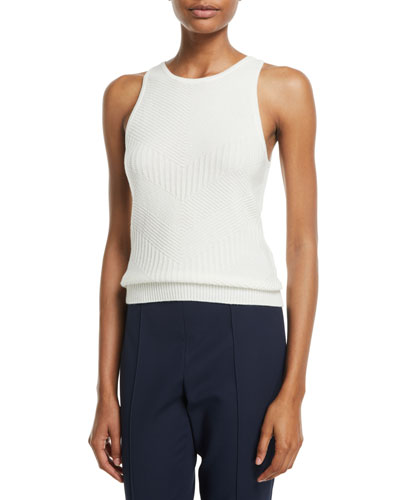 Sleeveless Subtle Chevron Knit Cashmere Tank