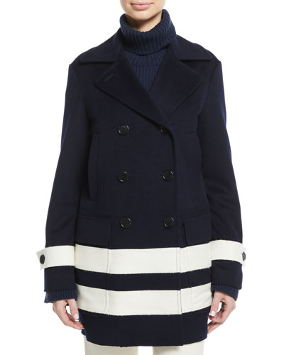 Double-Breasted Striped Wool Pea Coat