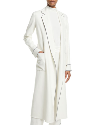 115cf539d30 Norian Open-Front Belted Long Cashmere Coat