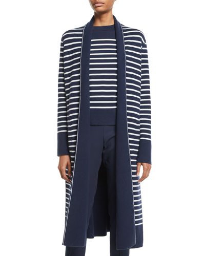 Striped Reversible Very Long Open Cashmere Cardigan