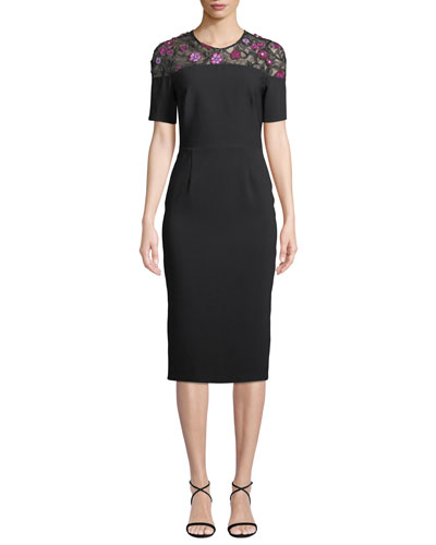 Lace-Yoke Short-Sleeve Fitted Sheath Cocktail Dress