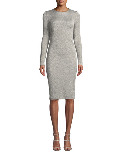 Crewneck Long-Sleeve Metallic-Jersey Body-con Midi Dress