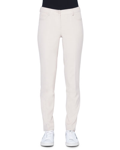 Magda 5-Pocket Slim Cotton/Silk Pants