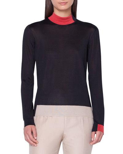 Silk Crepe Lines Intarsia Mock-Neck Pullover Sweater d4de72e16cc