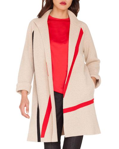 Intarsia Lines Open-Front Reversible Cashmere Coat