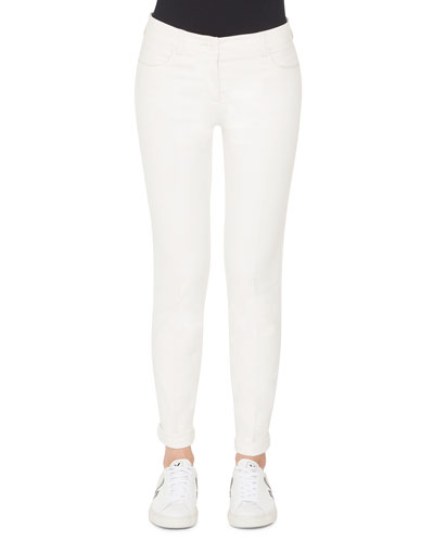 Mid-Rise Slim-Leg Cotton-Silk Denim Pants