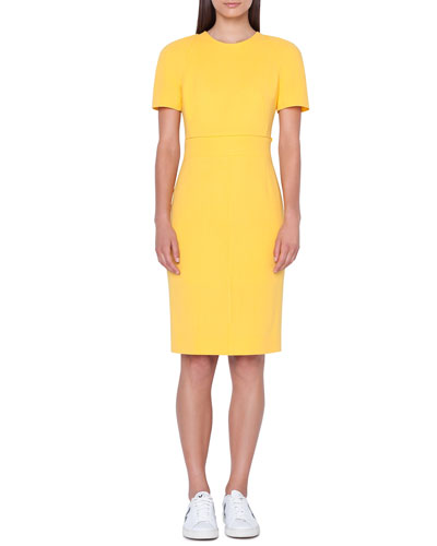 Zip-Waist Short-Sleeve Wool Sheath Dress