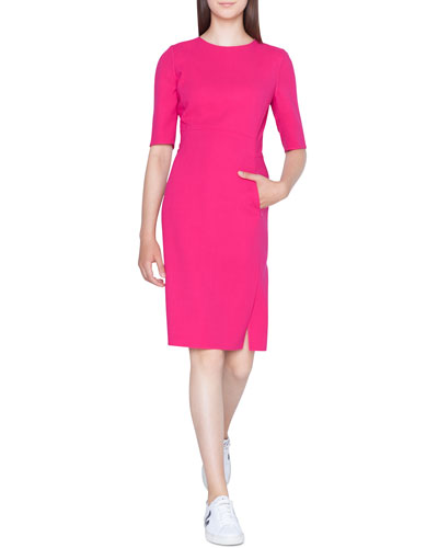 Half-Sleeve Double-Face Wool Pencil Dress with Zip Pockets