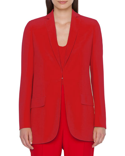 Crepe Blazer Jacket with Elongated Lapel