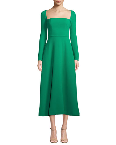 Long-Sleeve Square-Neck Stretch Wool Dress