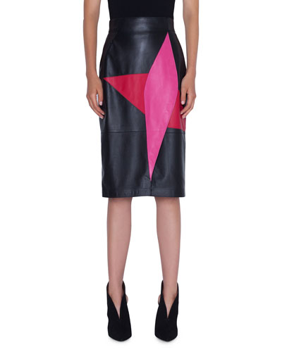 865240a7b6f014 Leather Wrap-Effect Patchwork Pencil Skirt