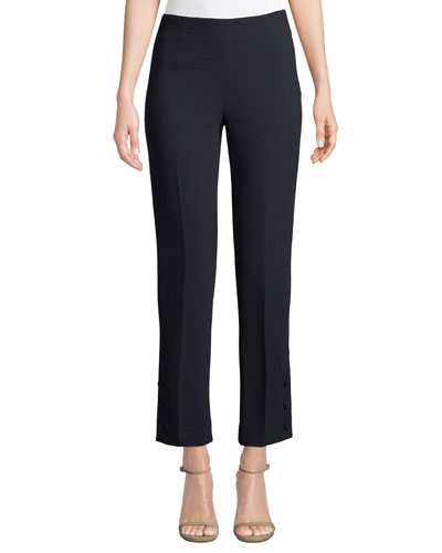 Button-Placket Straight-Leg Stretch-Wool Pants