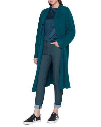 Asymmetric Long Rib Open Cashmere Cardigan Sweater